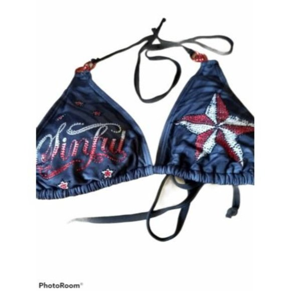 NEW Sinful by Affliction Swimsuit Bikini TOP CHAINS STAR BLUE WHITE SIZE L LARGE